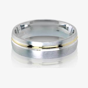 9ct Gold & Real Sterling Silver Heavyweight Men's Wedding Ring 6mm