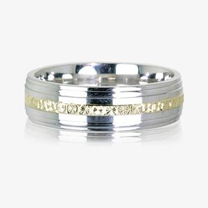 9ct Gold & Sterling Silver Heavyweight Men's Wedding Ring 6.5mm