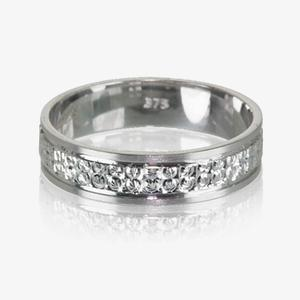 9ct White Gold Patterned Ladies Wedding Ring 4.5mm