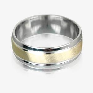 9ct Gold & Real Sterling Silver Luxury Weight Men's Wedding Ring 7mm