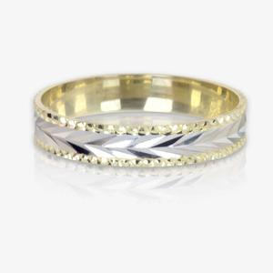 9ct Gold 2 Colour Ladies Patterned Wedding Band