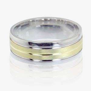 9ct Gold And Sterling Silver Heavy Weight Men's Wedding Ring 7mm