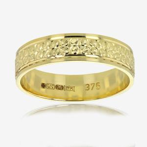9ct Gold Ladies Patterned Wedding Band