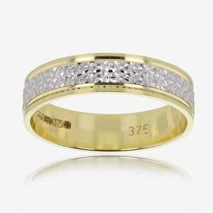 9ct Gold Ladies Two Colour Patterned Wedding Band