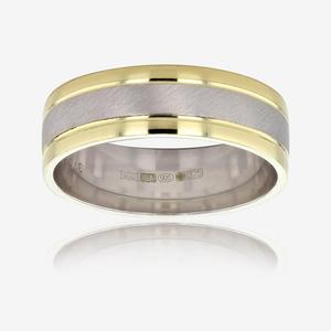 9ct Gold And Silver Men's Luxury Weight Wedding Band