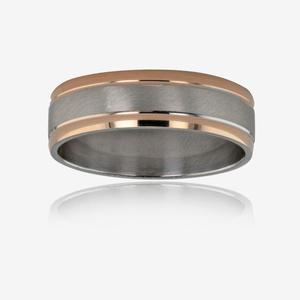 9ct Rose Gold & Silver Men's Luxury Weight Wedding Band