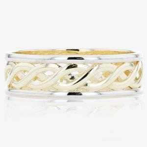 9ct Gold 2 Colour Celtic Style Wedding Band