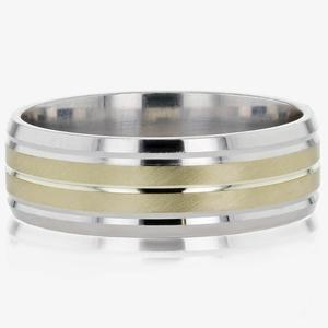 9ct Gold & Sterling Silver Heavyweight Men's Band