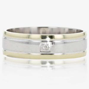 9ct Gold & Silver Men's Diamond Band