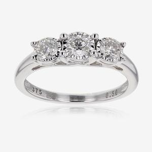 Pure Brilliance Certificated Diamond Trilogy Ring .50ct