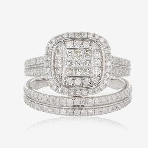 18ct White Gold Diamond Bridal 2 Ring Set 1.00ct