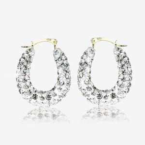 Shauna 9ct Gold Crystal Creole Earrings