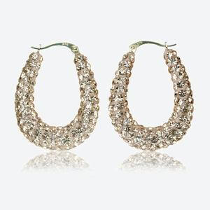 Leanne 9ct Gold Champagne Crystal Oval Creoles