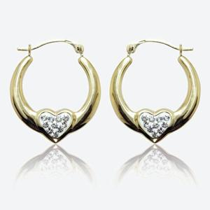 9ct Gold Claddagh Crystal Creole Earrings