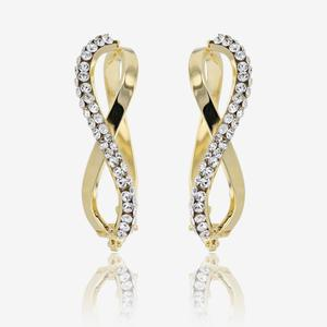 9ct Gold Crossover Creoles Made With Swarovski® Crystals