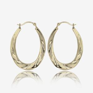 9ct Gold Oval Fluted Creole Earrings