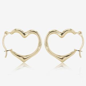 9ct Gold Heart Creole Earrings