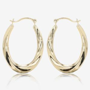 9ct Gold Fluted Creole Earrings