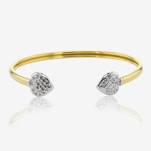 9ct Gold And Silver Bonded Torque Bangle Made With Swarovski® Crystals