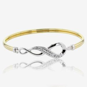 9ct Gold & Silver Swirl Bangle Made With Swarovski® Crystals