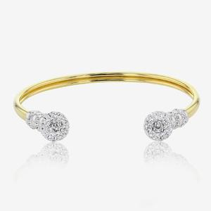 9ct Gold & Silver Bonded Torque Bangle Made With Swarovski® Crystals