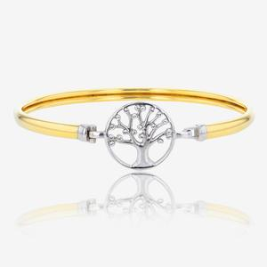 9ct Gold & Silver Bonded Life's Tree Bangle Made With Swarovski® Crystals