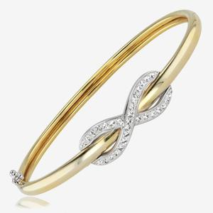 9ct Gold And Silver Bonded Infinity Bangle Made With Swarovski® Crystals