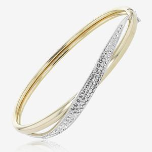 Lucille 9ct Gold & Silver Bonded Bangle Made With Swarovski® Crystals