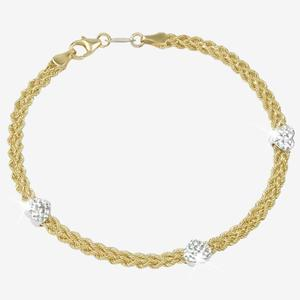 9ct Gold & Silver Bonded Rope And Heart Bracelet