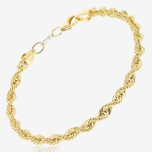 19 cm Long 9ct Gold & Silver Bonded Rope Bracelet