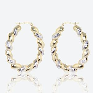 Calypso 9ct Gold & Silver Bonded Creole Earrings