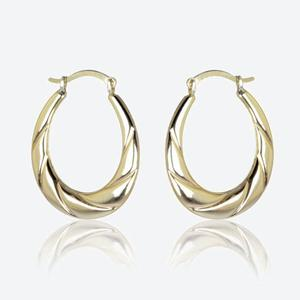 Lucia 9ct Gold & Silver Bonded Creole Earrings