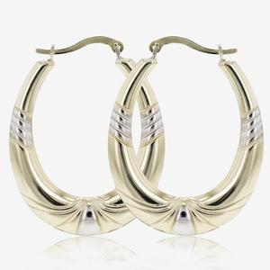 Two Colour Lydia 9ct Gold & Silver Bonded Creole Earrings