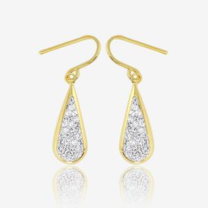 9ct Gold & Silver Bonded Drop Earrings Made With Crystals From Swarovski®