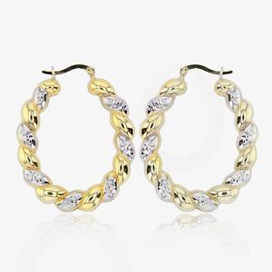 Calypso 9ct Gold And Silver Bonded Creole Earrings