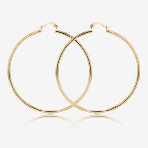 9ct Gold & Silver Bonded Extra Large Creole Earrings