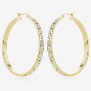 9ct Gold & Silver Bonded Creoles Made With Swarovski® Crystals