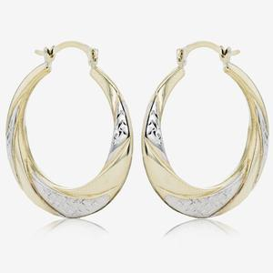 Miranda 9ct Gold & Silver Bonded Creole Earring