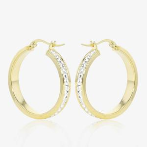 9ct Gold And Silver Bonded Earrings Made With Swarovski® Crystals