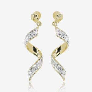 9ct Gold And Silver Bonded Twist Earrings Made With Swarovski® Crystals