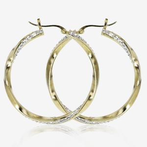9ct Gold & Silver Bonded Twist Design Creole Earrings Made With Swarovski® Crystals