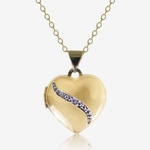 The Begonia 9ct Gold And Silver Bonded Diamond Locket Necklace