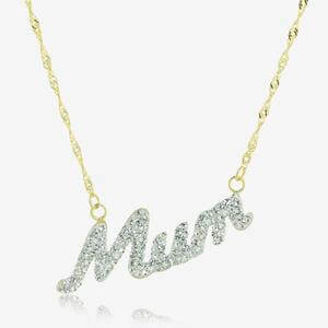 9ct Gold & Silver Bonded Mum Necklace Made With Swarovski<sup>&reg;</sup> Crystals