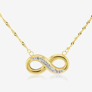 9ct Gold & Silver Bonded Infinity Necklace Made With Swarovski® Crystals