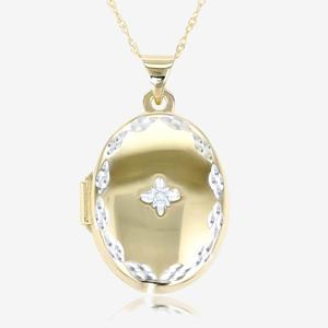 9ct Gold & Silver Bonded Diamond Locket Necklace