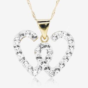 24b7926b879b5 NEW 9ct Gold And Silver Bonded Necklace Set With Swarovski sup ®  sup