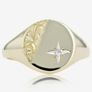 9ct Gold Men's Diamond Signet Ring