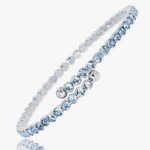 Ladies Aqua Crystals From Swarovski<sup>&reg;</sup> Flexi Bangle