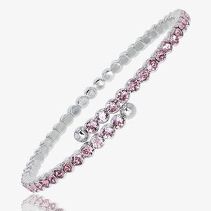 Ladies Pink Crystals From Swarovski<sup>&reg;</sup> Flexi Bangle