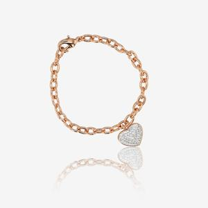Rolo Chain Heart Bracelet Made With Swarovski® Crystals